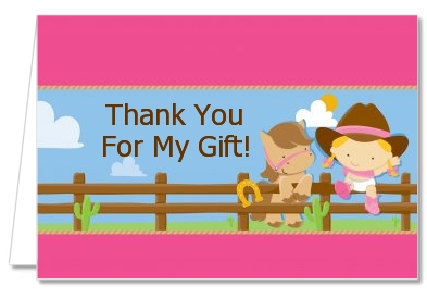 Little Cowgirl - Baby Shower Thank You Cards