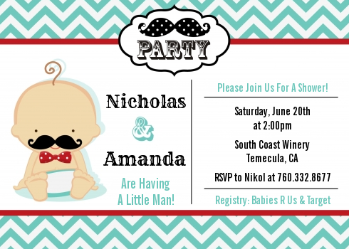 Little Man Mustache - Baby Shower Invitations Caucasian