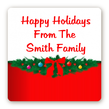 Merry Christmas Wreath - Square Personalized Christmas Sticker Labels