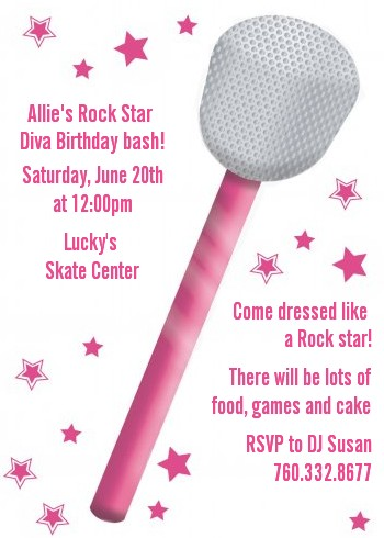Microphone - Birthday Party Invitations