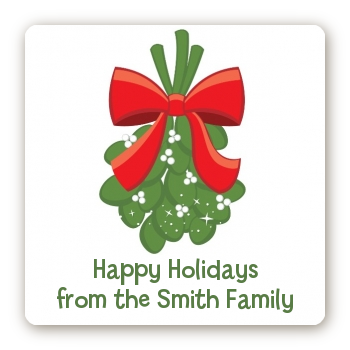 Mistletoe - Square Personalized Christmas Sticker Labels