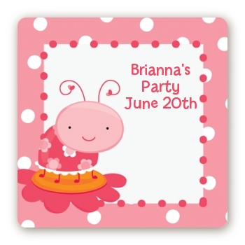 Modern Ladybug Pink - Square Personalized Birthday Party Sticker Labels