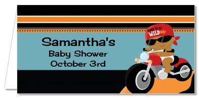 Motorcycle Baby - Personalized Baby Shower Place Cards Caucasian