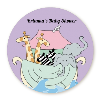 Noah's Ark Twins - Round Personalized Baby Shower Sticker Labels