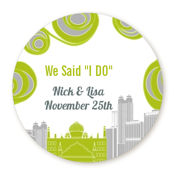 New Jersey Skyline - Round Personalized Bridal Shower Sticker Labels