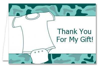 Baby Outfit Green Camo - Baby Shower Thank You Cards