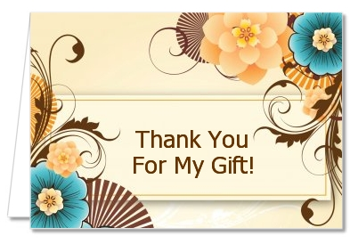 Orange & Blue Floral - Birthday Party Thank You Cards