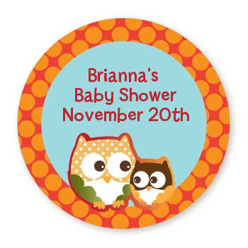 Owl - Fall Theme or Halloween - Round Personalized Baby Shower Sticker Labels