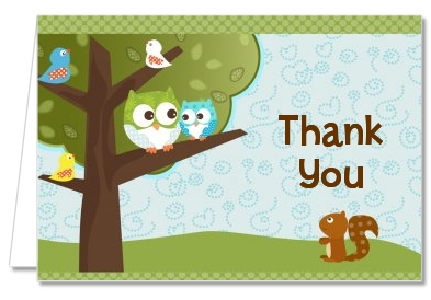 Owl - Look Whooo's Having A Boy - Baby Shower Thank You Cards
