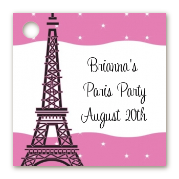 Pink Poodle in Paris - Personalized Baby Shower Card Stock Favor Tags