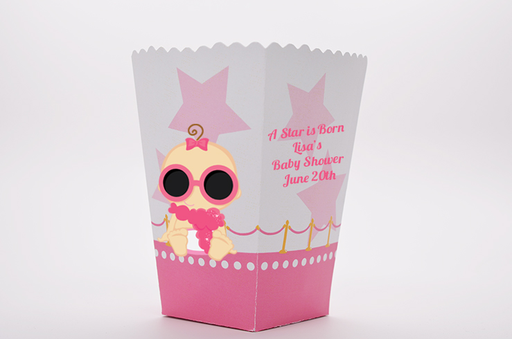 A Star Is Born Hollywood White|Pink - Personalized Baby Shower Popcorn Boxes Indian Girl