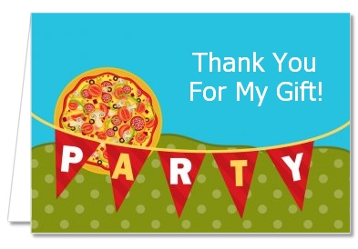 Pizza Party - Birthday Party Thank You Cards