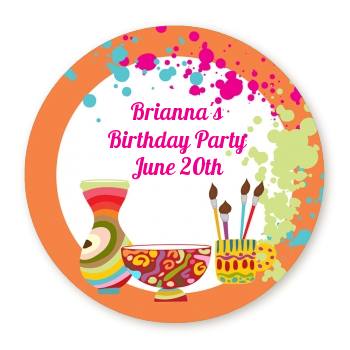 Pottery Painting - Round Personalized Birthday Party Sticker Labels