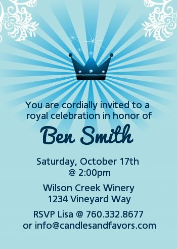 Prince Royal Crown - Birthday Party Invitations