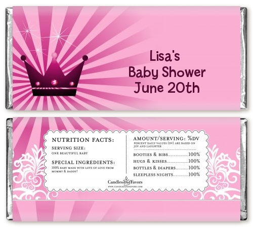 Princess Royal Crown Baby Shower Candy Bar Wrappers
