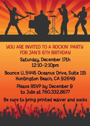 Rock Band | Like A Rock Star Girl - Birthday Party Invitations
