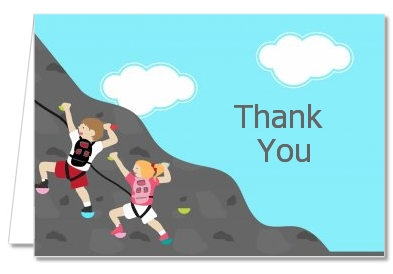 Rock Climbing - Birthday Party Thank You Cards