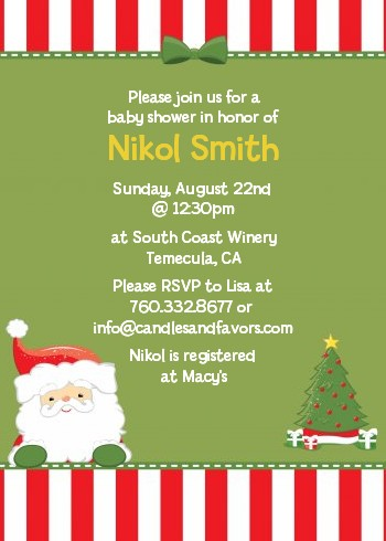 Santa Claus Christmas Invitations Candles And Favors