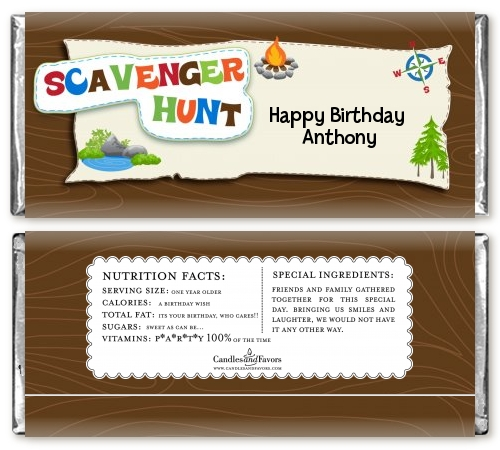Scavenger Hunt Personalized Birthday Party Candy Bar Wrers
