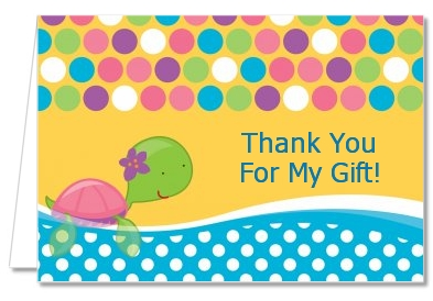 Sea Turtle Girl - Birthday Party Thank You Cards