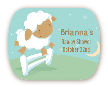 Sheep - Personalized Baby Shower Rounded Corner Stickers
