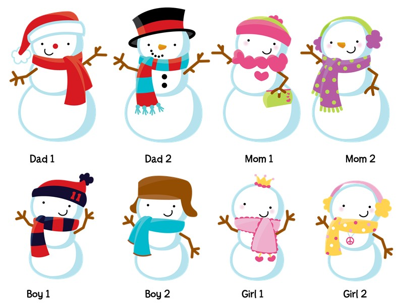 snowman family with lights christmas thank you cards - Personalized Christmas Cards No Photo