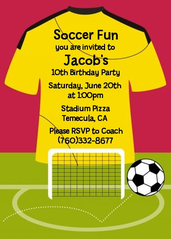 Soccer Jersey Yellow and Red - Birthday Party Invitations