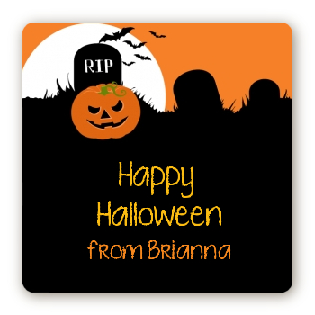 Spooky Pumpkin - Square Personalized Halloween Sticker Labels