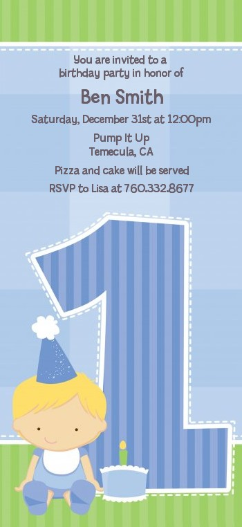 1st Birthday Boy - Birthday Party Tall Invitations