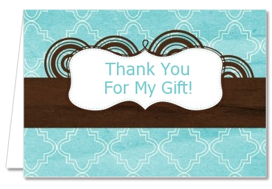 Teal & Brown - Graduation Party Thank You Cards