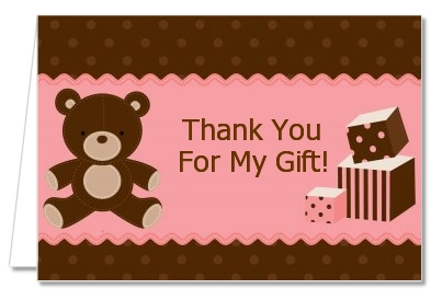 Teddy Bear Pink - Baby Shower Thank You Cards