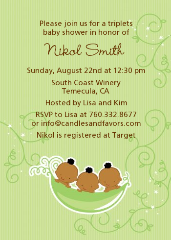 Triplets Three Peas in a Pod African American - Baby Shower Invitations Triplet Boys