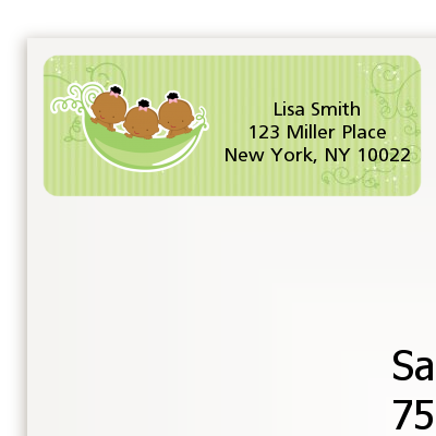 Triplets Three Peas in a Pod African American - Baby Shower Return Address Labels 3 Boys