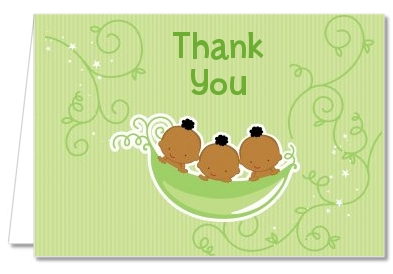 Triplets Three Peas in a Pod African American - Baby Shower Thank You Cards 2 Boys 1 Girl