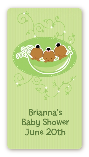 Triplets Three Peas in a Pod African American - Custom Rectangle Baby Shower Sticker/Labels Triplet Boys