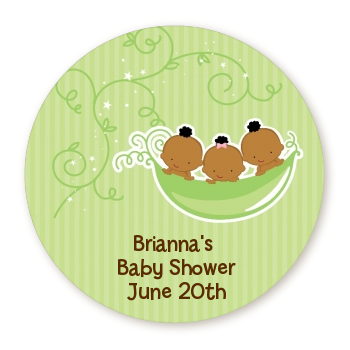 Triplets Three Peas in a Pod African American - Round Personalized Baby Shower Sticker Labels Triplet Boys