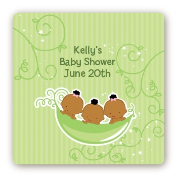 Triplets Three Peas in a Pod African American - Square Personalized Baby Shower Sticker Labels Three Boys