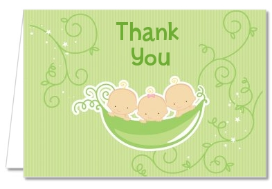 Triplets Three Peas in a Pod Caucasian - Baby Shower Thank You Cards 3 Girls