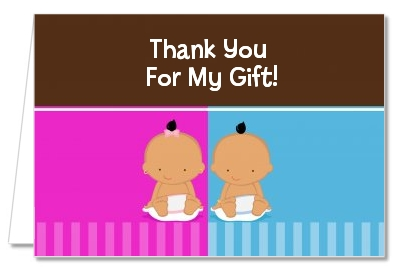 Twin Babies 1 Boy and 1 Girl Hispanic - Baby Shower Thank You Cards