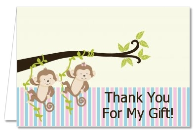 Twin Monkey 1 Girl and 1 Boy - Baby Shower Thank You Cards