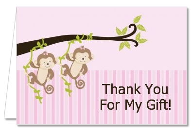 Twin Monkey Girls - Baby Shower Thank You Cards