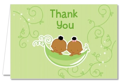 Twins Two Peas in a Pod African American - Baby Shower Thank You Cards 1 Boy 1 Girl