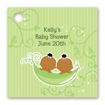 Twins Two Peas in a Pod African American - Personalized Baby Shower Card Stock Favor Tags Twin Boys