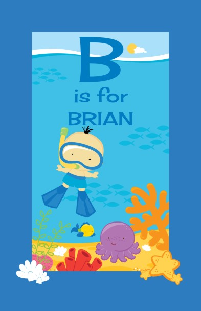 Under the Sea Asian Baby Boy Snorkeling - Personalized Baby Shower Nursery Wall Art