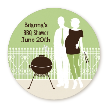 Silhouette Couple BBQ Neutral - Round Personalized Baby Shower Sticker Labels