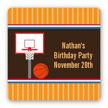 Basketball - Square Personalized Birthday Party Sticker Labels