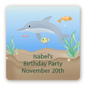 Dolphin - Square Personalized Birthday Party Sticker Labels