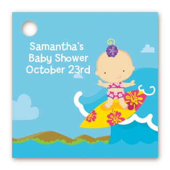 Surf Girl - Personalized Baby Shower Card Stock Favor Tags