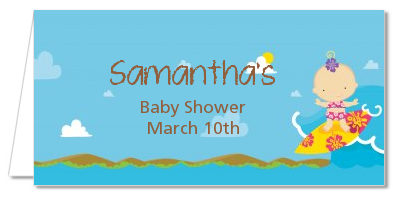 Surf Girl - Personalized Baby Shower Place Cards