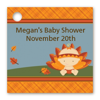 Little Turkey Girl - Personalized Baby Shower Card Stock Favor Tags
